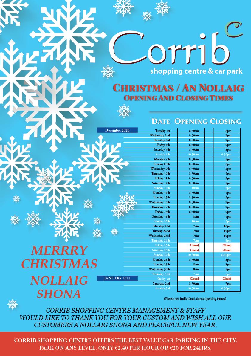 Corrib Shopping Centre_ Chirstmas 2020 Opening Hours Irish
